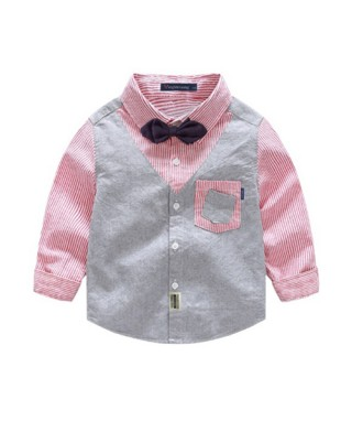 FAB 208 Gray And Red Strip Long Shirt