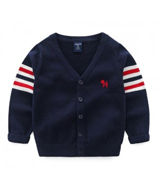 FAB 395 Navy Stripe On The Arm Sweater