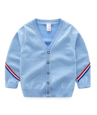FAB 402 Blue Zigzag Buttons Sweater