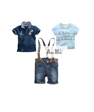 FAB 082 Tee Blue Best Little Polo Navy Anchor Suspenders Pants