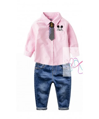 FAB 462 Pink Mickey Mouse Tie & Pants Set