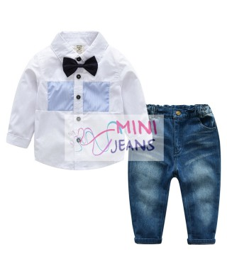 FAB 511 White Formal Long Shirt Tie And Jeans Pants Set