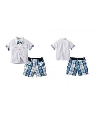 FAB 517 White Shirt And Blue Checked Pants Set
