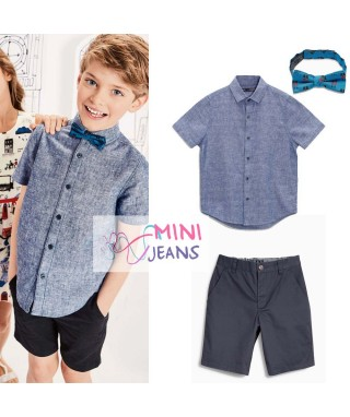 FAB 522 Blue Shirt With Tie and Black Pants Set