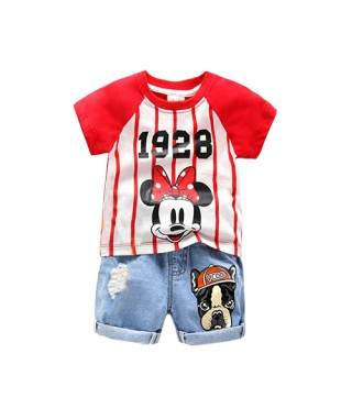 FAG 039 Minnie Mouse Tee White and Red Pants set