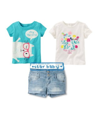 FAG 041  Double Tee White Flower and Blue Cat Pants Set